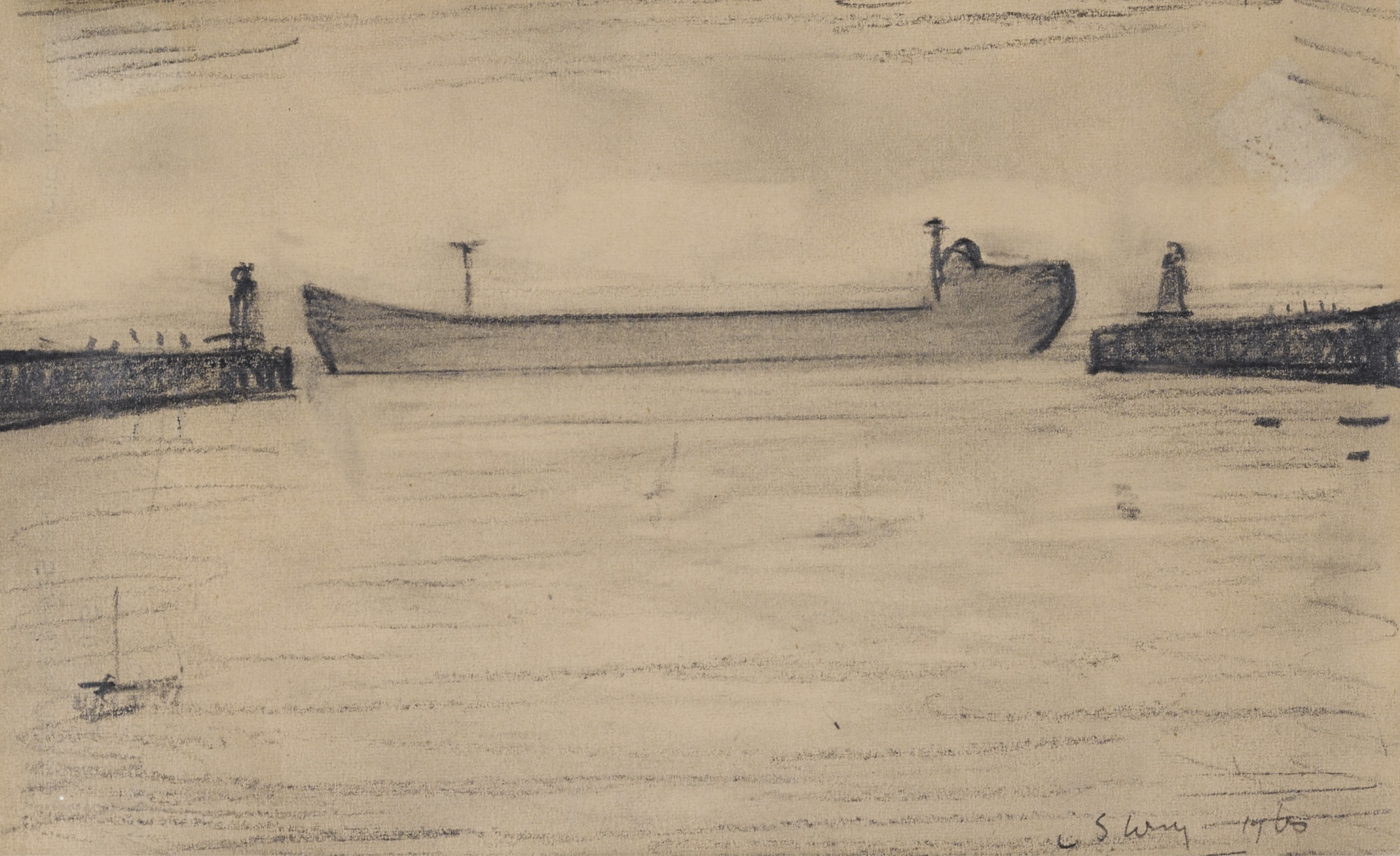 Laurence Stephen Lowry-Tanker-1960