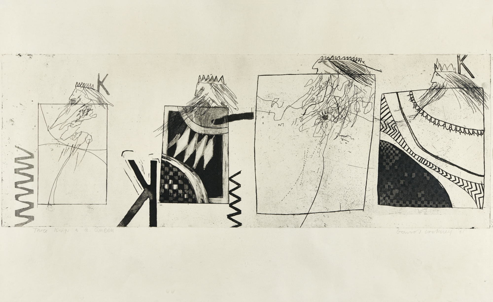 David Hockney-Three Kings And A Queen (Scottish Arts Council; Museum Contemporary Art Tokyo 7)-1961