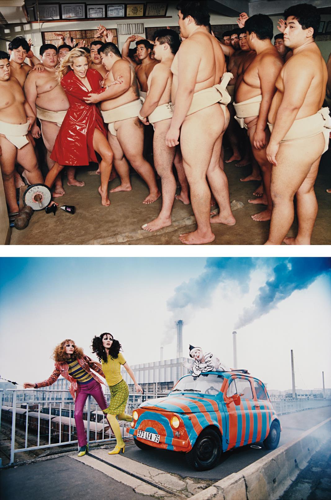 David LaChapelle-Two Works: (i) Pierrot Story, Paris; (ii) Rachel And Sumo Wrestlers, Tokyo-1995
