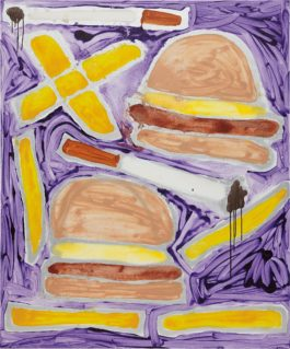 Katherine Bernhardt-Hamburgers French Fries + Cigarettes-2014