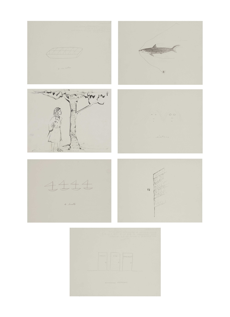 William Wegman-Two Ice Cubes; Shark; Nostalgia; Sisters; 4 Boats; Two People and Building; Announcing Restrooms-1975