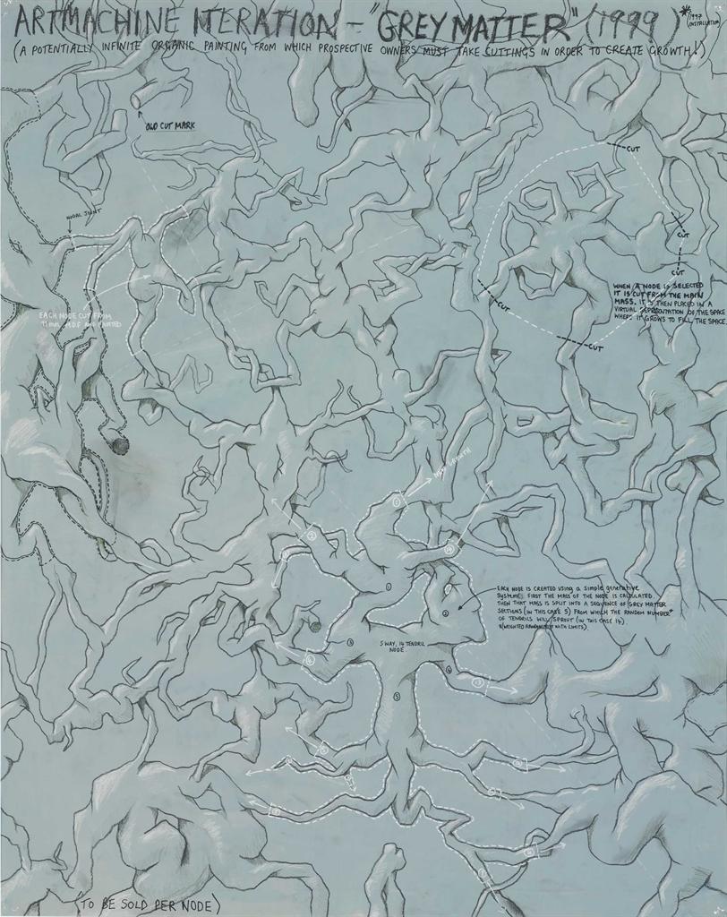 Keith Tyson-Studio Wall Drawing: Artmachine Iteration - Grey Matter-1999