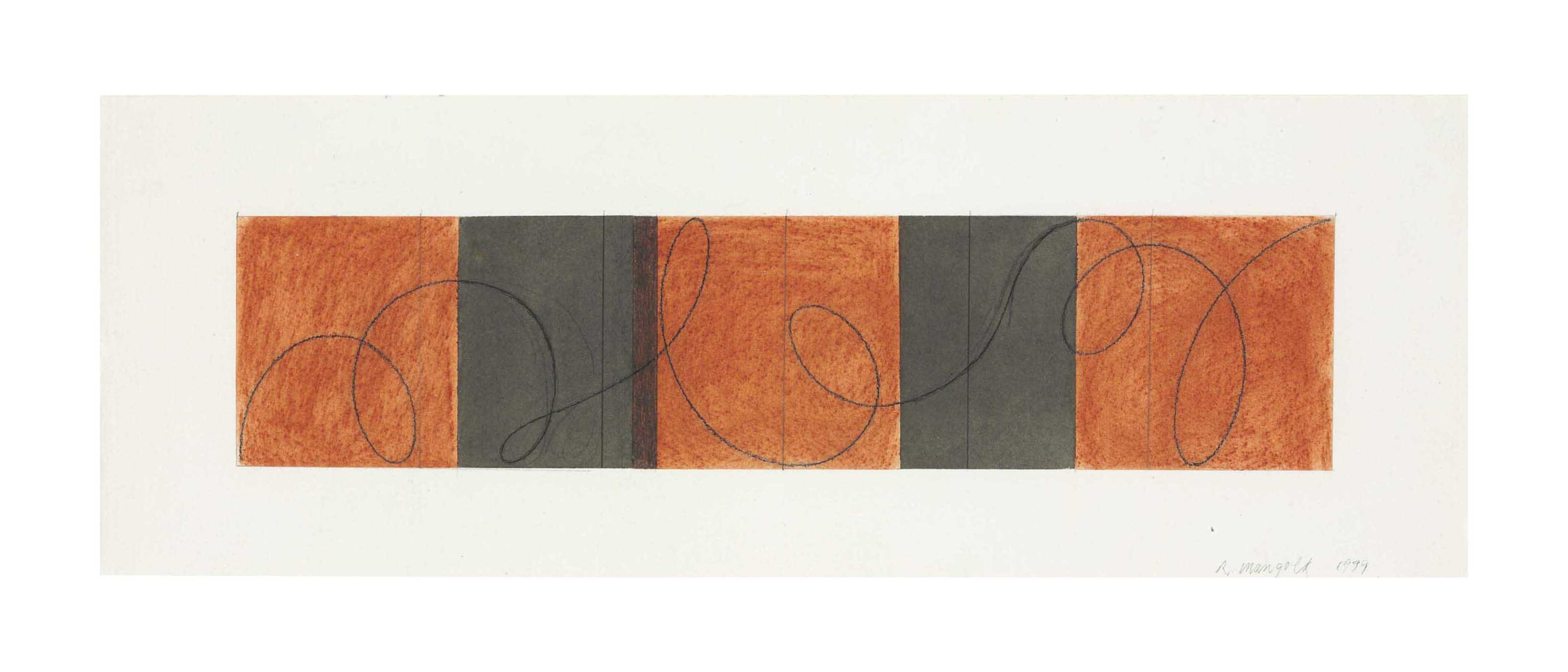 Robert Mangold-Red / Gray Looped Line Zone Study-1999
