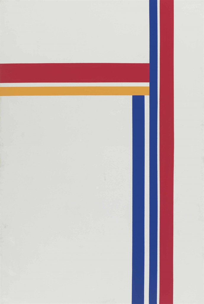 Ilya Bolotowsky-White Vertical with Blue Red and Yellow-1973