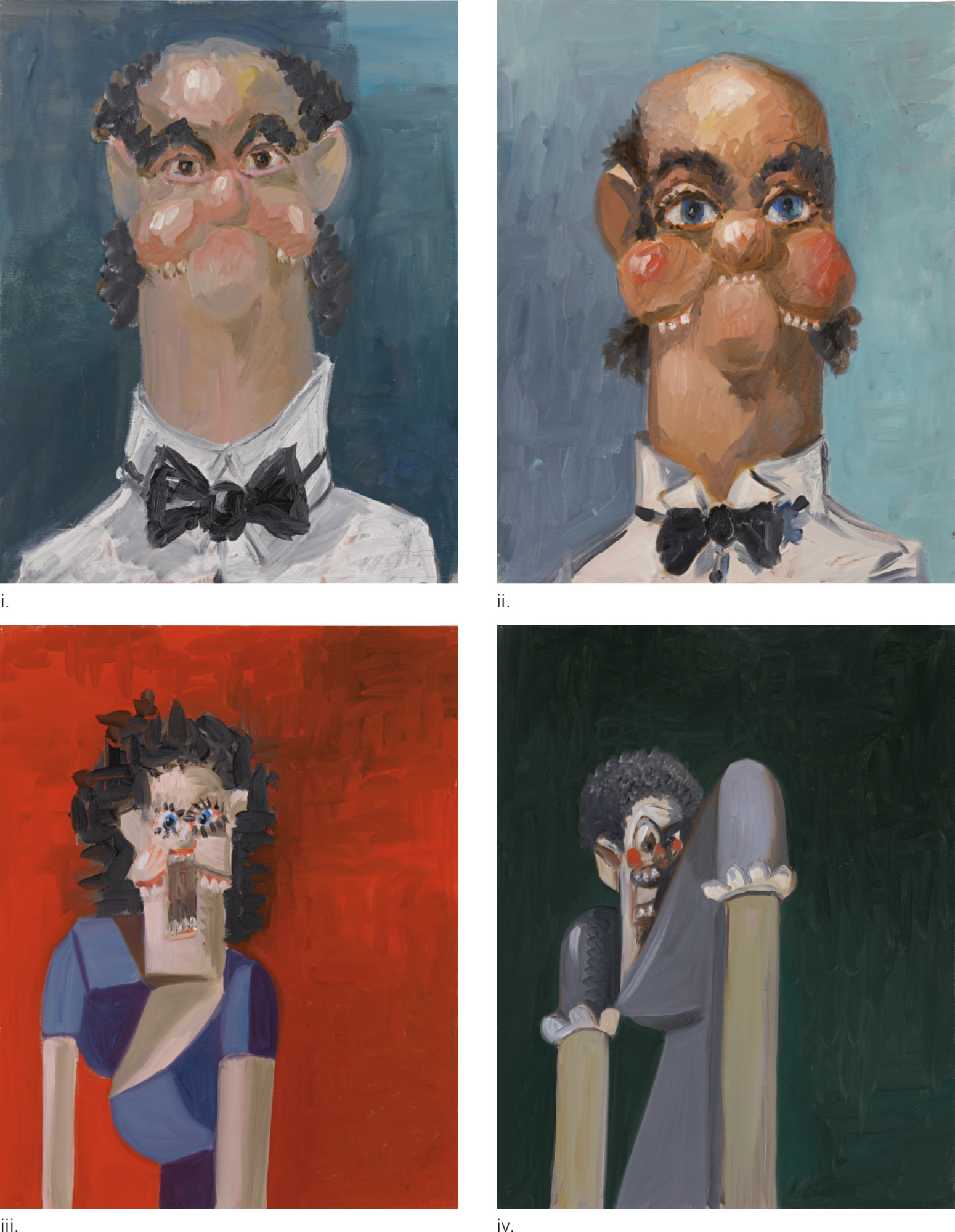 George Condo-Jean Louis; Jean Louis With One Ear; Jean Louis' Wife; Jean Louis' Wife'S Sister [Four Works]-2005