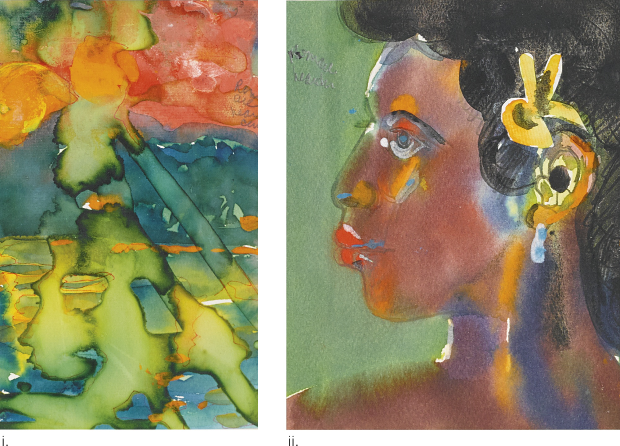 Romare Bearden-Sunset; Jacquline [Two Works]-1980