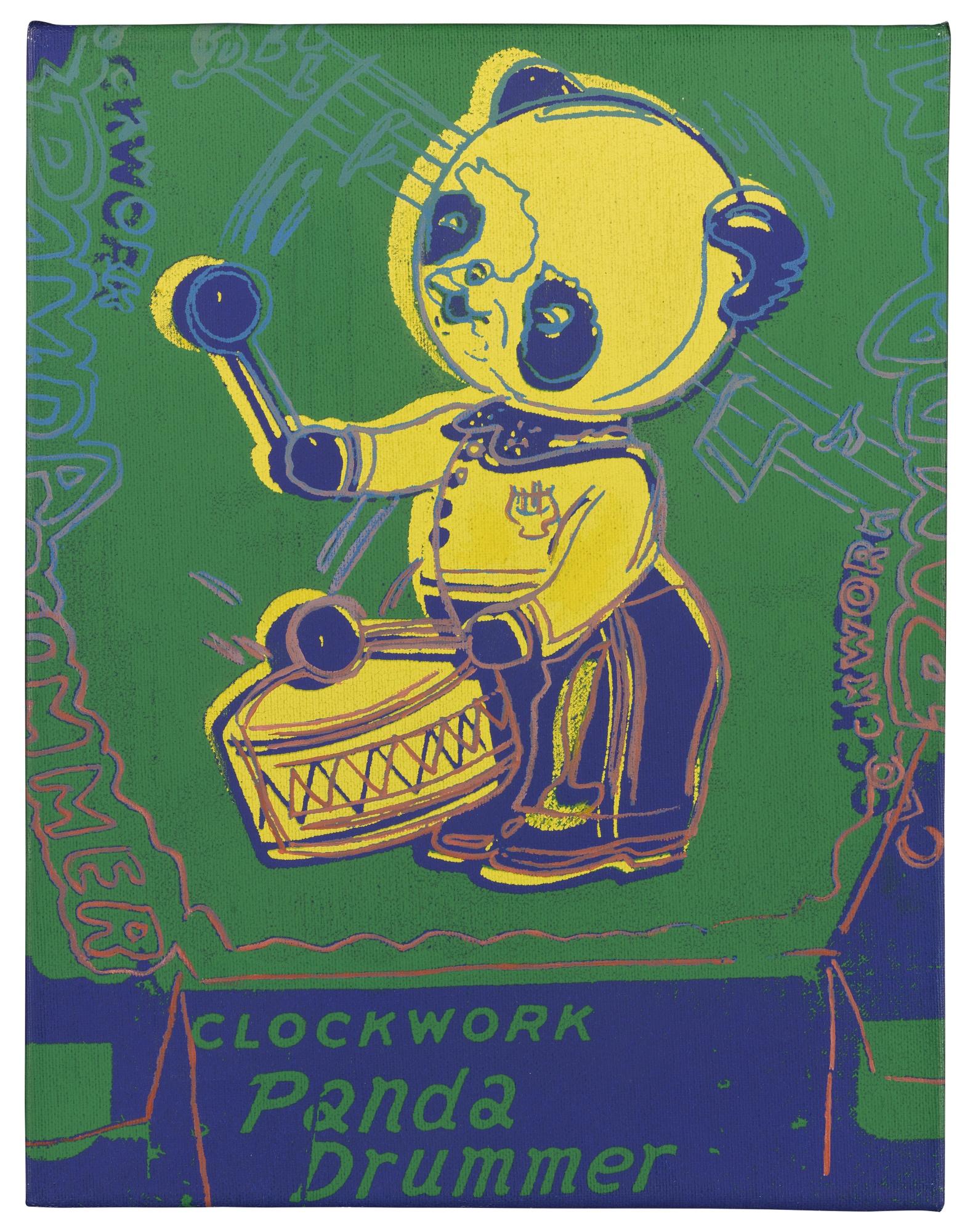 Andy Warhol-Clockwork Panda Drummer (Toy Painting)-1983