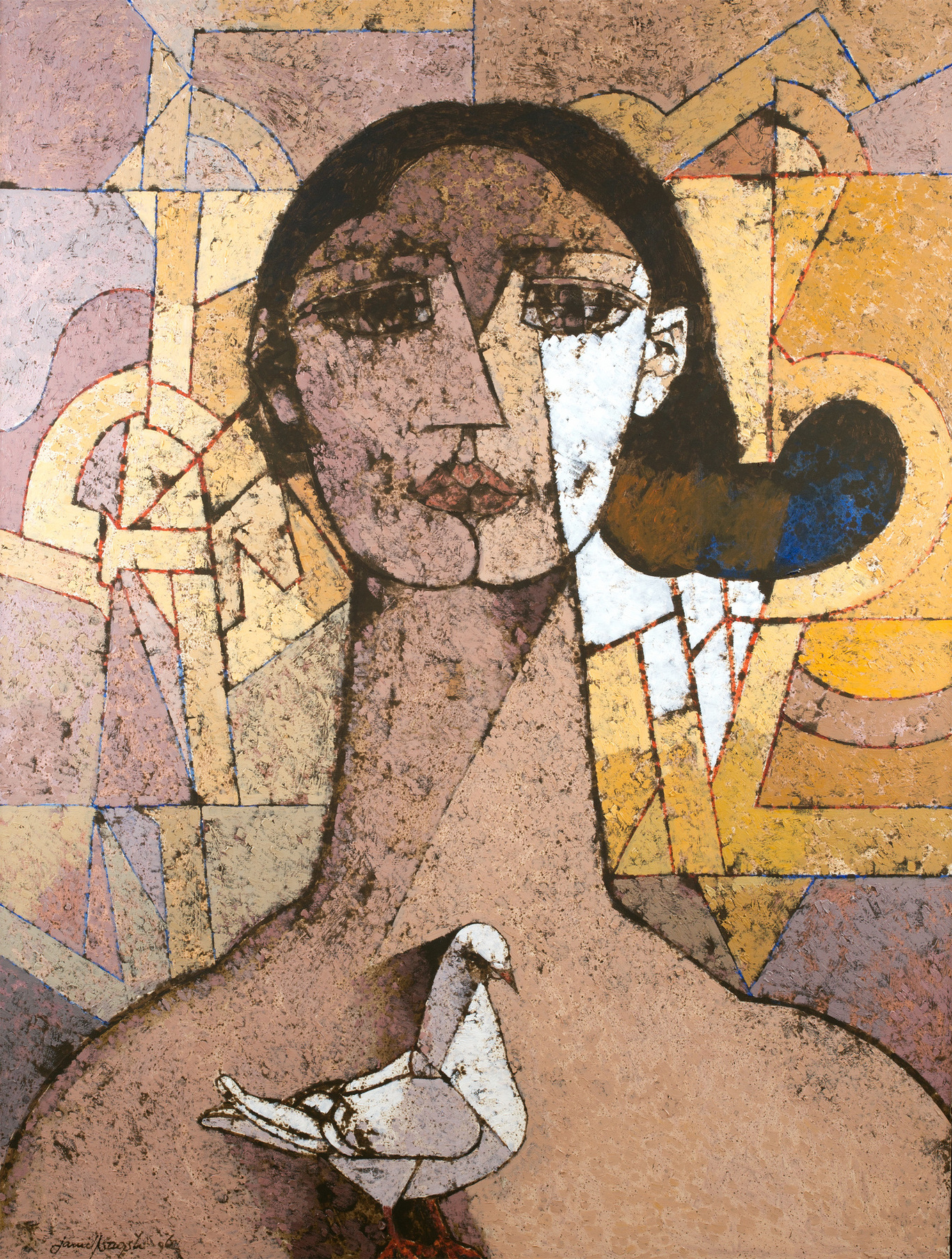 Jamil Naqsh-Untitled (Woman and Pigeon)-2006