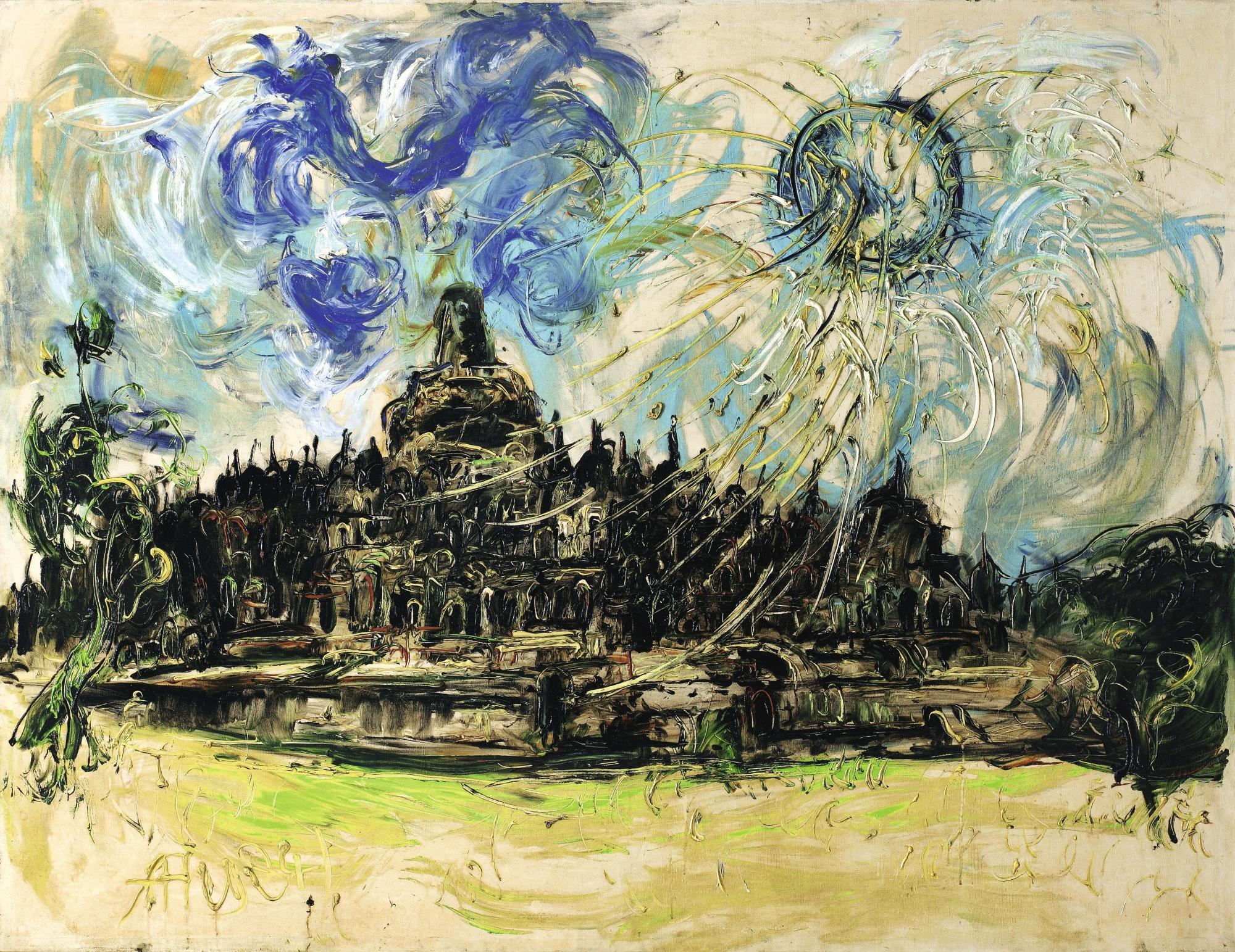 Affandi-Borobudur And The Sun-1984