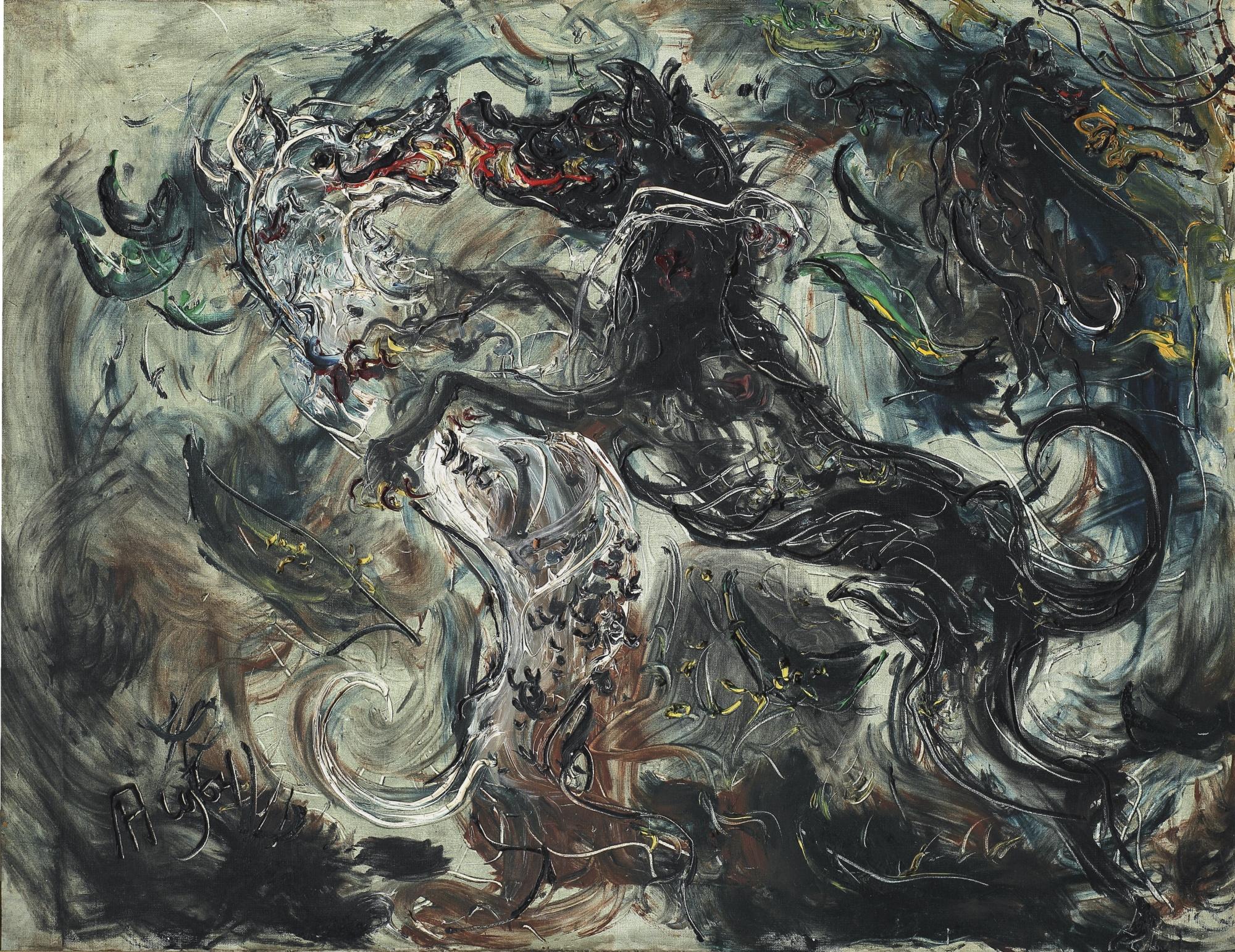 Affandi-Dogs Fighting-1964