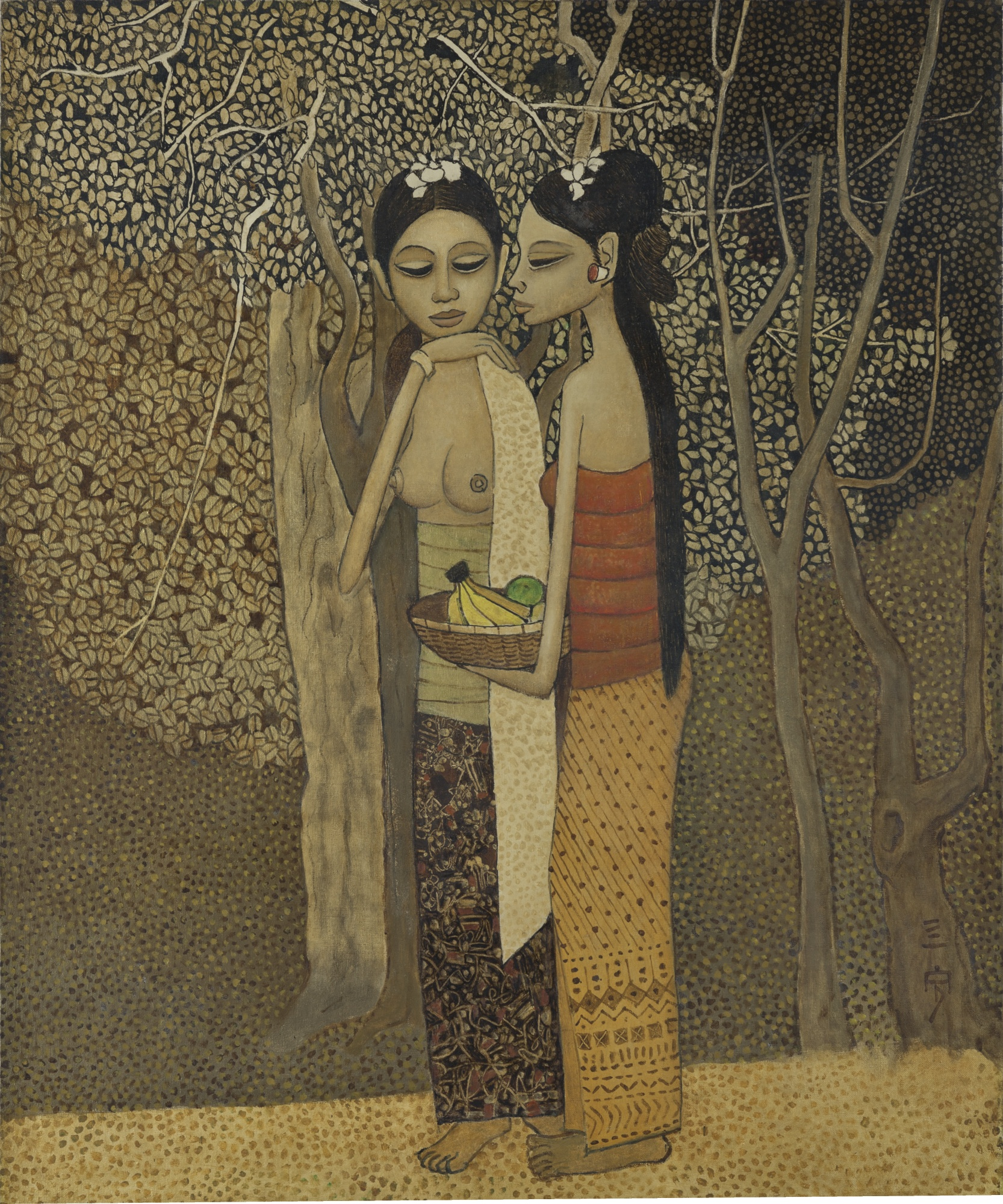 Cheong Soo Pieng-Two Women With Fruits-1978
