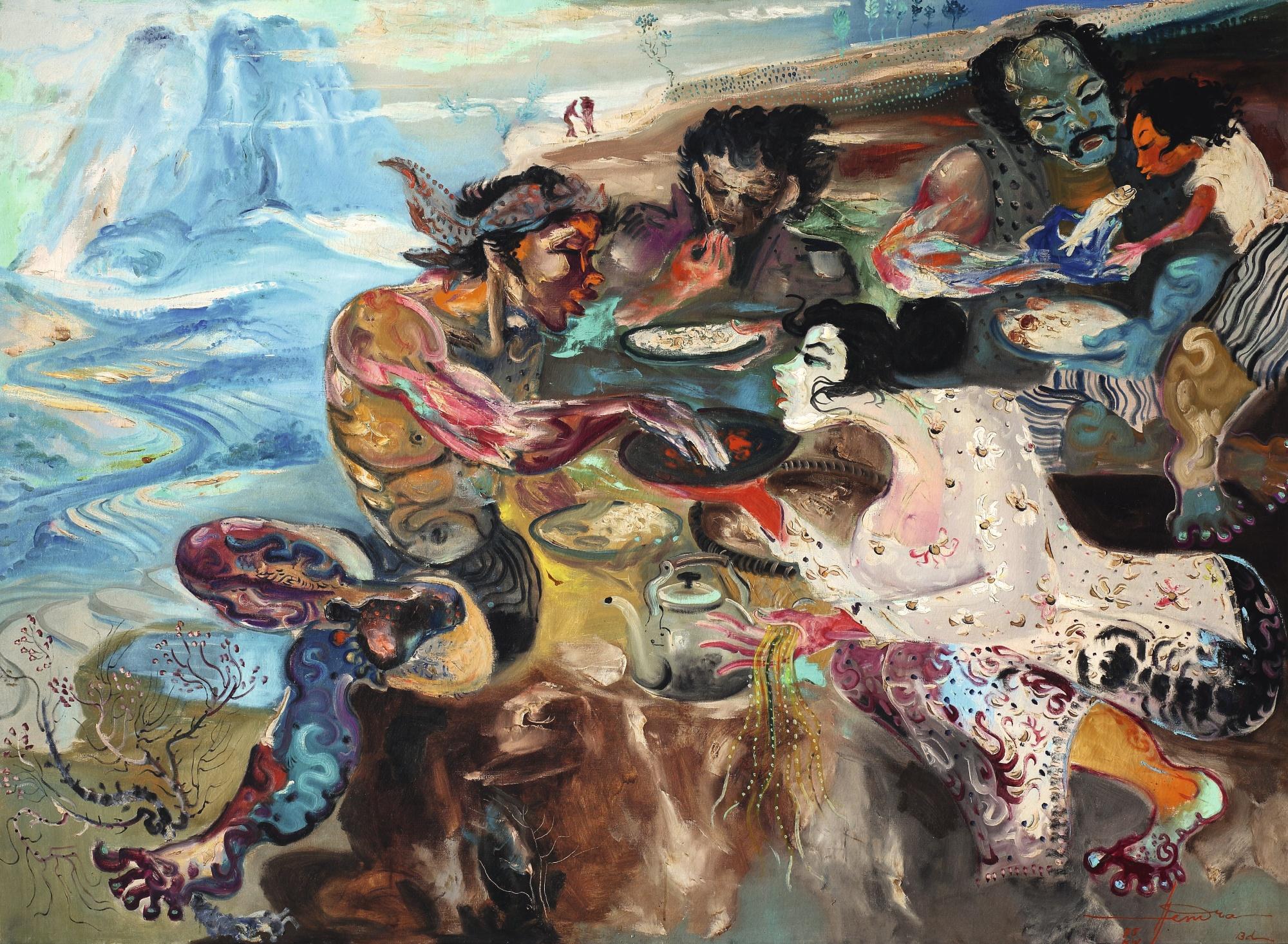 Hendra Gunawan-Village Life-1975