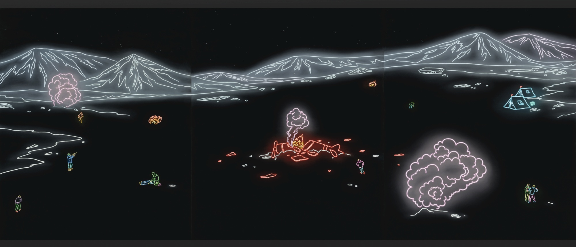 Kong Lingnan-The Drifting Peninsula II (Triptych)-2011