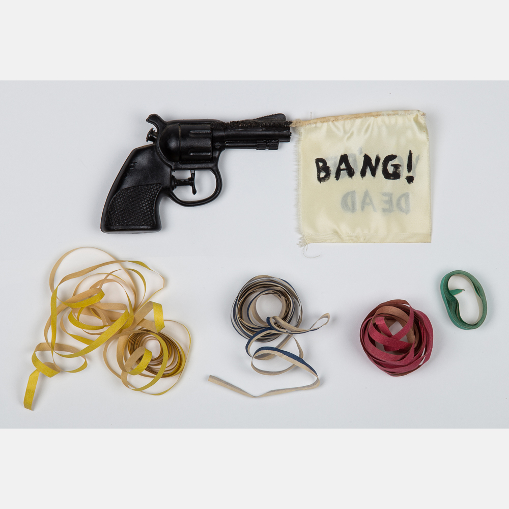 Karen Kilimnik-Bang You're Dead, Gun with Flag and Streamers-1991