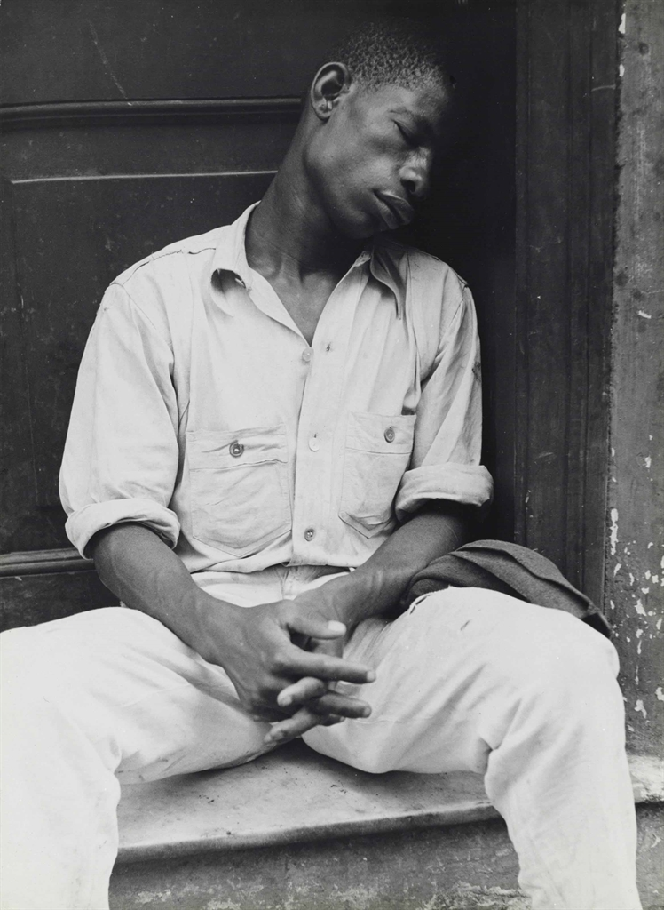 Walker Evans-Untitled (Man asleep on stoop), Havana, Cuba-1933