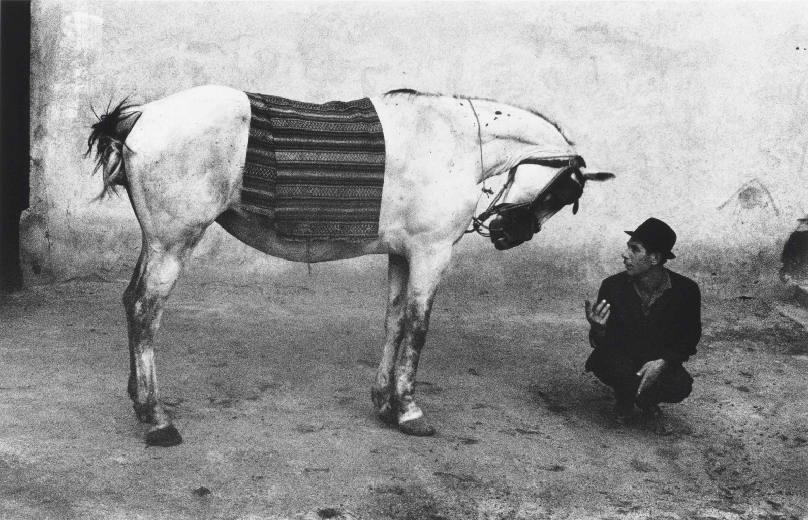 Josef Koudelka-Man with horse, Romania-1968