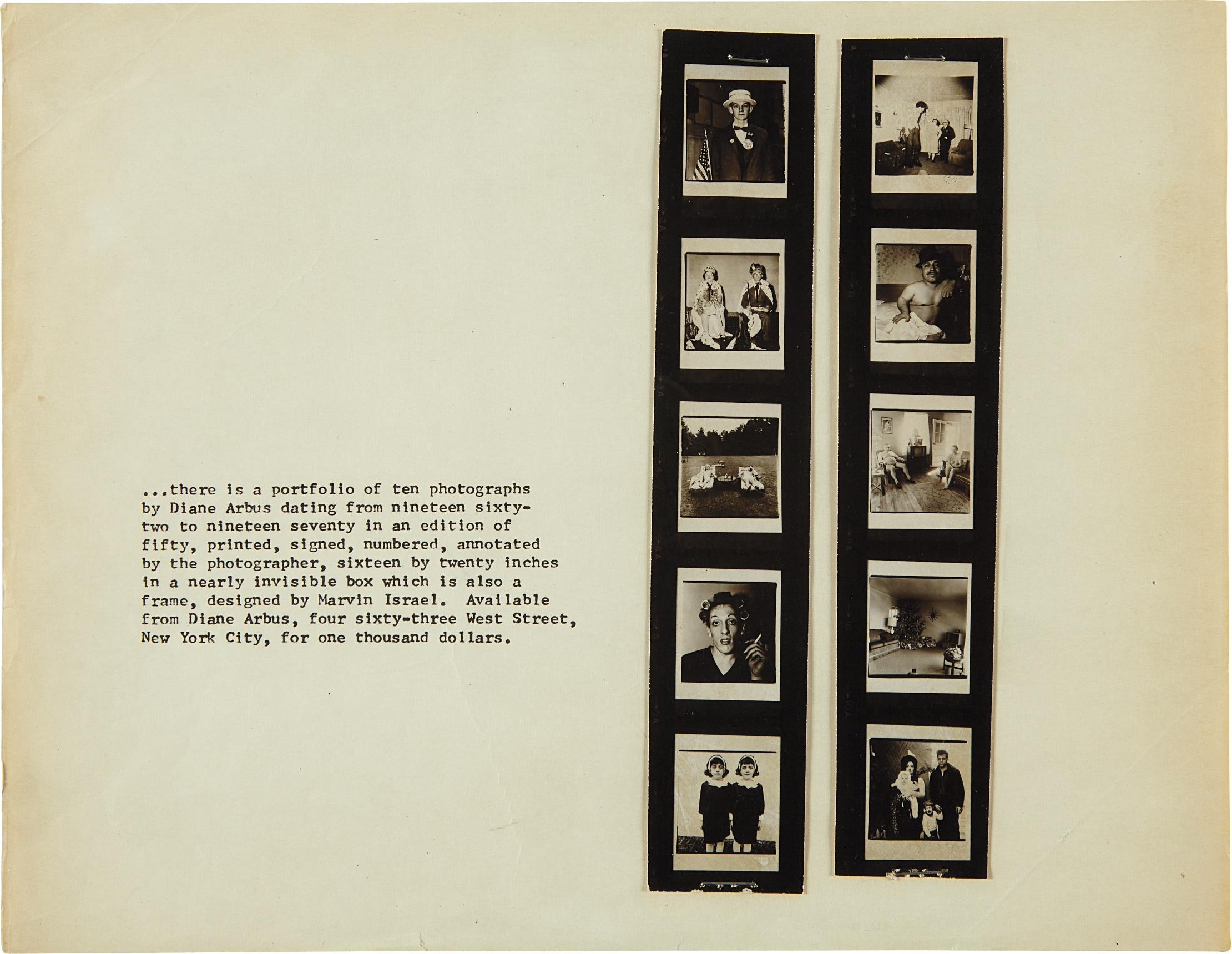Diane Arbus-Promotion Flyer For 'A Box Of Ten Photographs'-1971