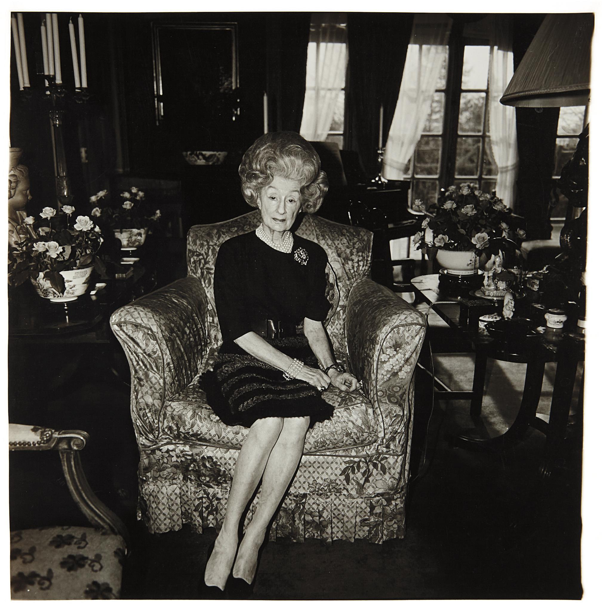 Diane Arbus-Mrs. T. Charlton Henry On A Floral Easy Chair, Philadelphia, Pa.-1965