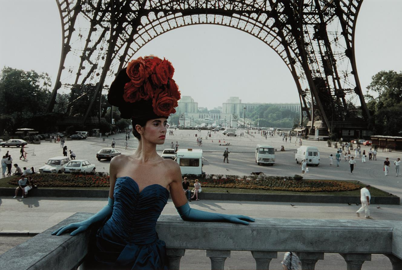 Frank Horvat-Red Hat And Eiffel Tower, Patrizia For Figaro Magazine, Paris-1986