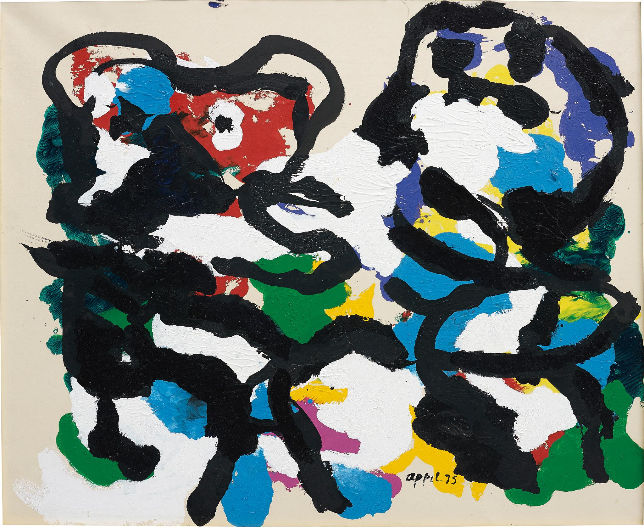 Karel Appel-Black Figures Against White-1975