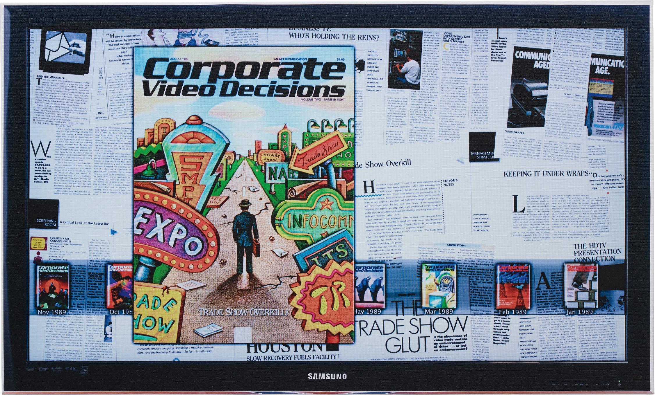 Simon Denny-Corporate Video Decisions Double Canvas (Trade Show Overkill)-2011