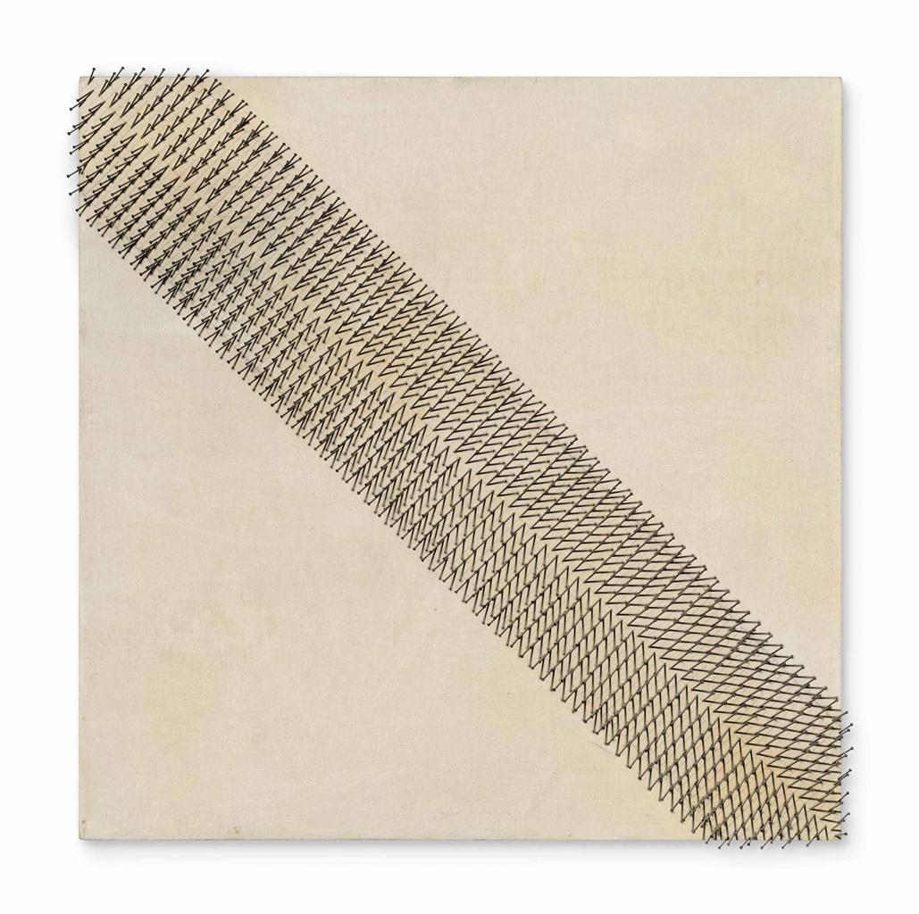 Gunther Uecker-Diagonale Teilung voeneinander weg (Diagonal Division)-1974
