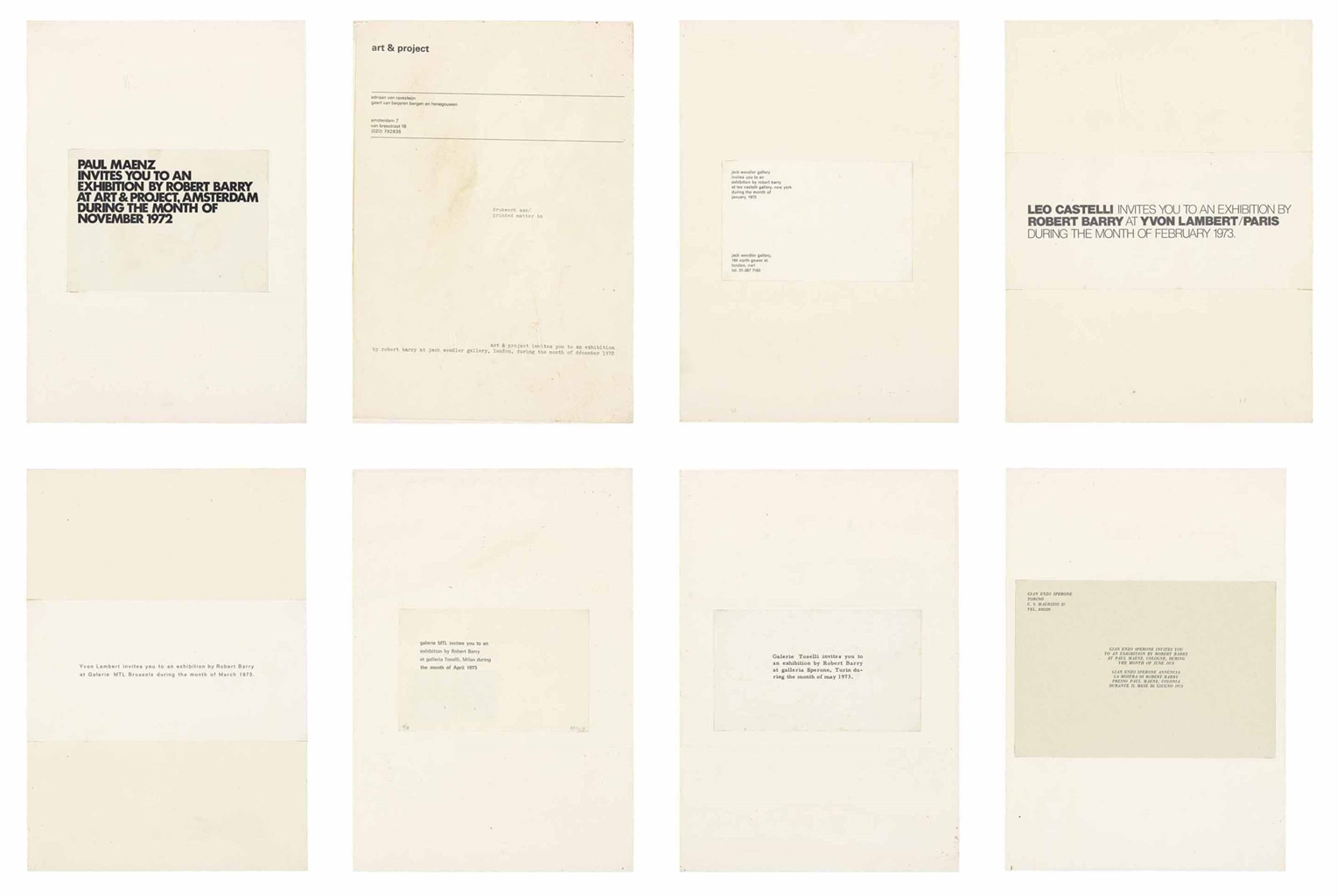 Robert Barry-Invitation piece-1973