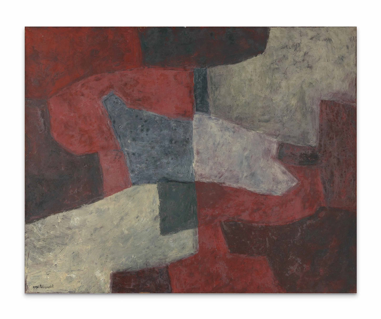 Serge Poliakoff-Bleu gris et rouge (Blue Grey and Red-1963