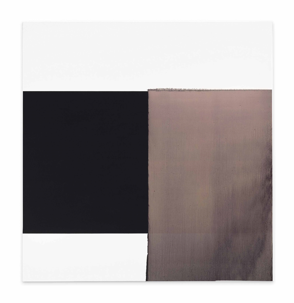 Callum Innes-Exposed Painting, Paynes Grey/Yellow Oxide/Red Oxide on White-1999