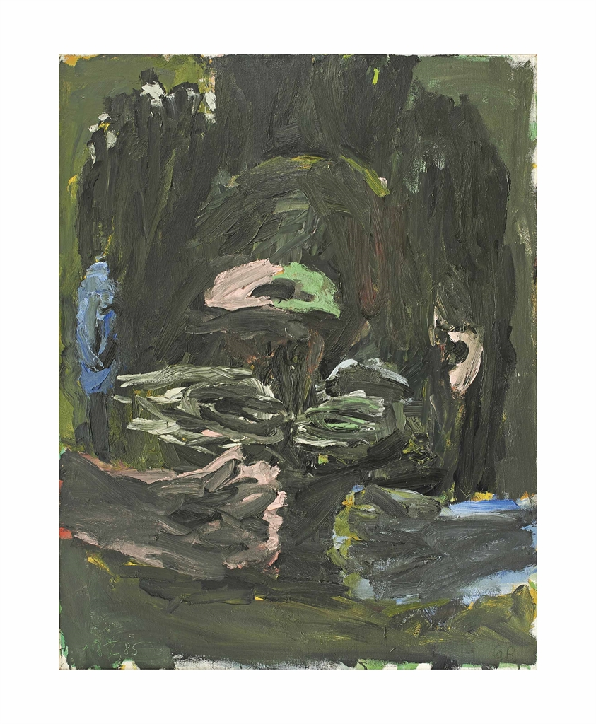 Georg Baselitz-Schwarzer Kopf mit blauem Ohr (Black Head with Blue Ear)-1985