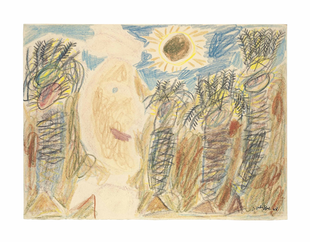 Jean Dubuffet-Arabe et palmiers sous le soleil (Arab and palm trees under the sun)-1948
