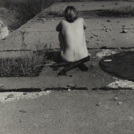 Francesca Woodman-Untitled Providence Rhode Island (Self-Portrait Nude Seated On Sidewalk)-1977
