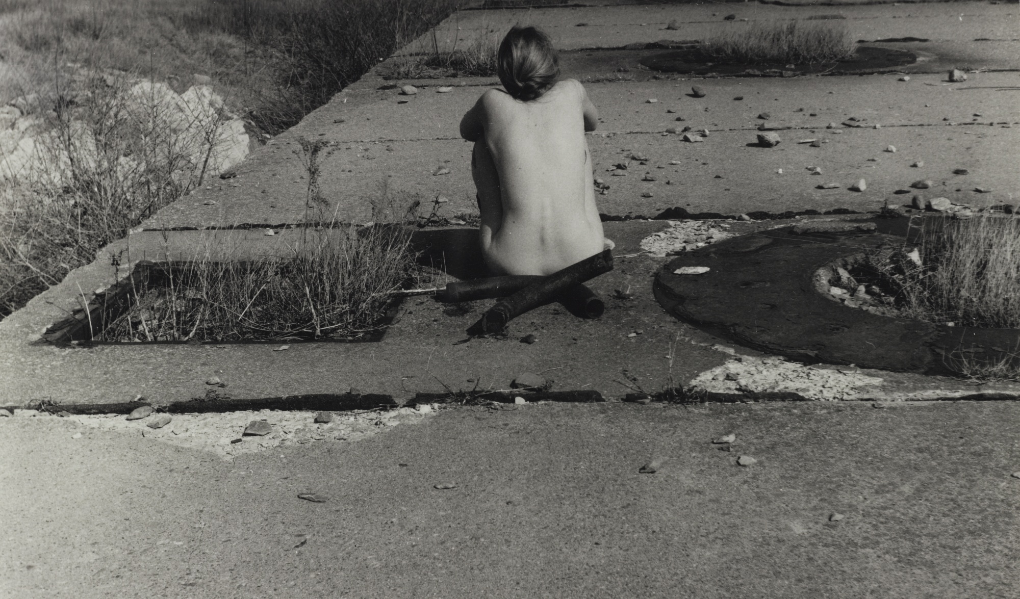 Francesca Woodman-Untitled Providence Rhode Island (Self-Portrait Nude Seated On Sidewalk)-1977