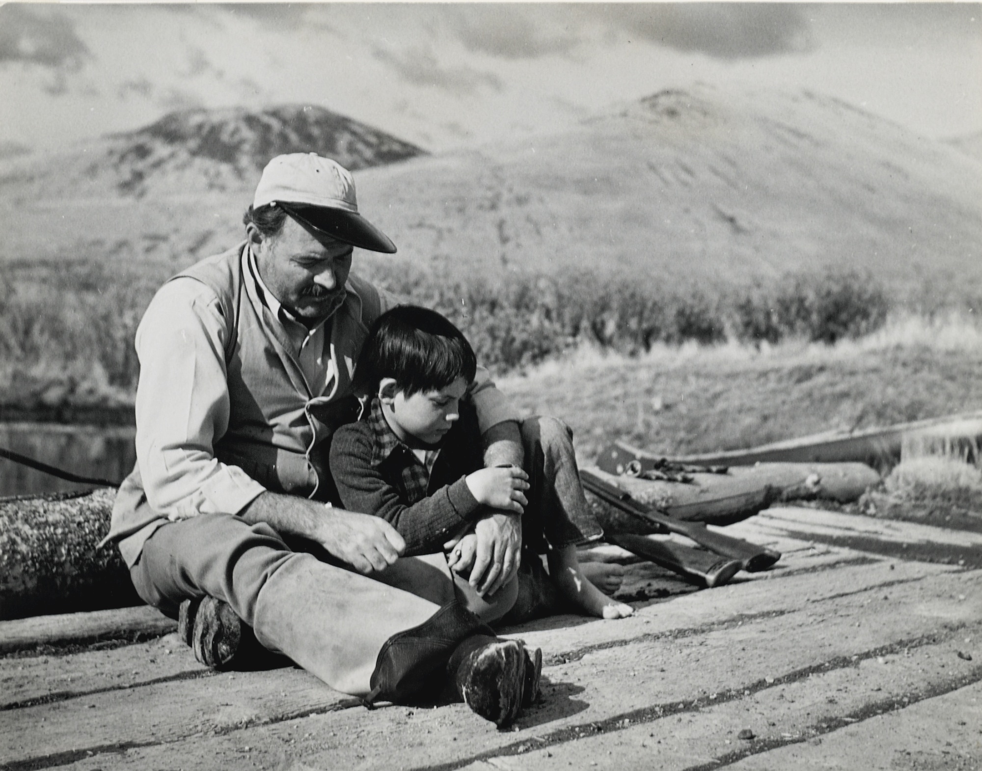 Robert Capa-Hemingway And Son Gregory During Hunting Trip In Sun Valley-1941