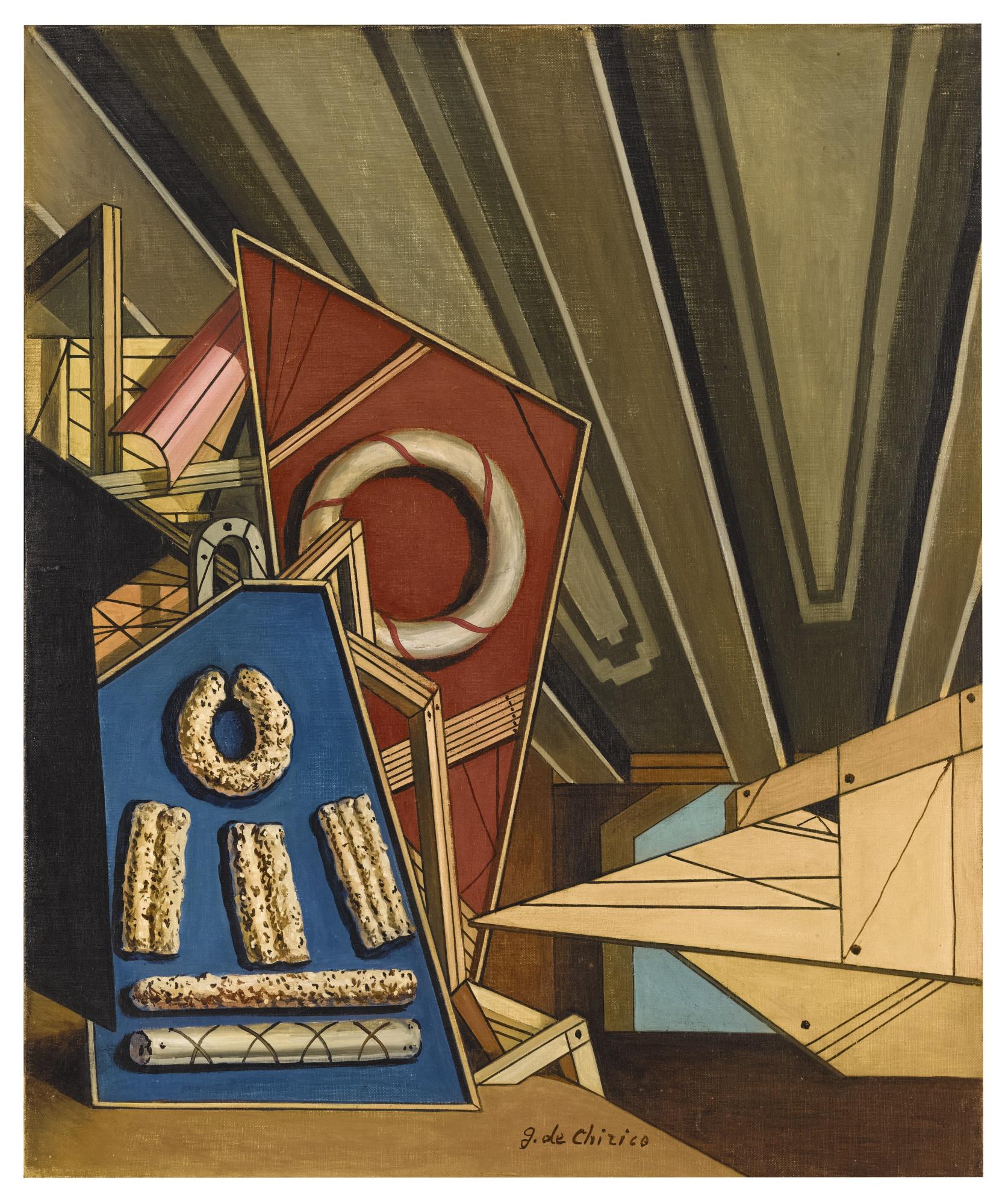 Giorgio de Chirico-Interno Metafisico Con Biscotti-1950