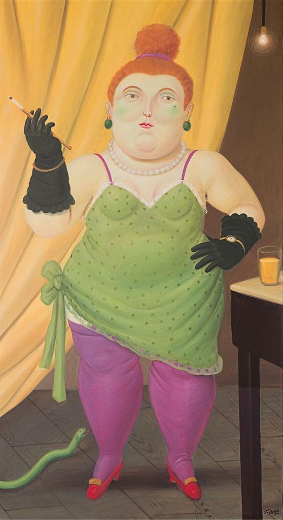 Fernando Botero-Woman in a Green Dress-1992