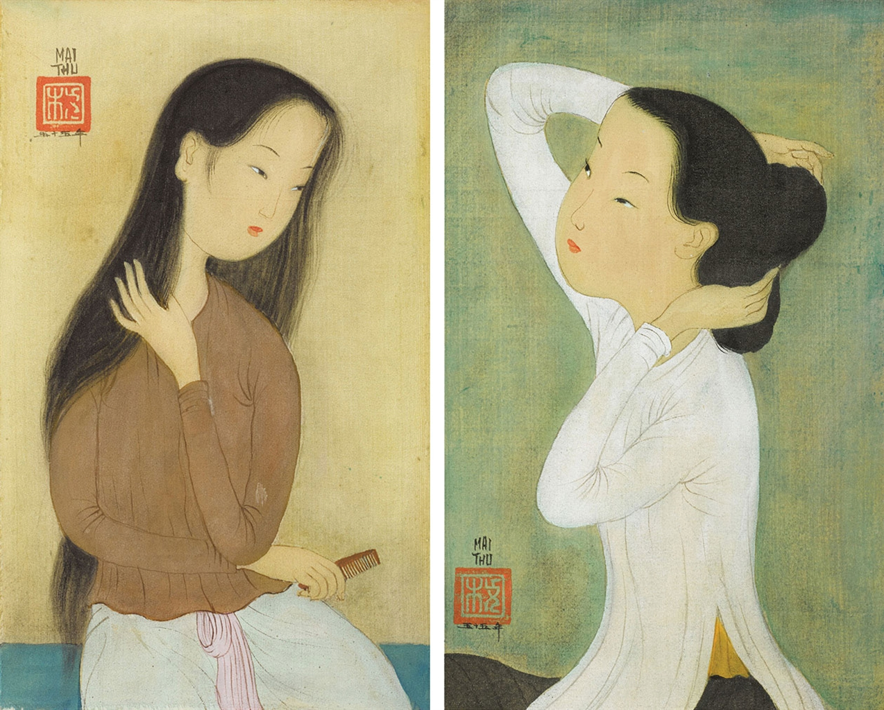 Mai Trung Thu-Deux femme se coiffant (Two Ladies Styling)-1955
