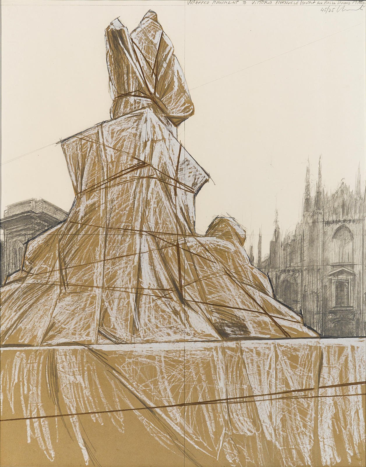 Christo and Jeanne-Claude-Wrapped Monument to Vittorio Emanuele, Project for Piazza del Duomo, Milan (S. & K. 79)-1975