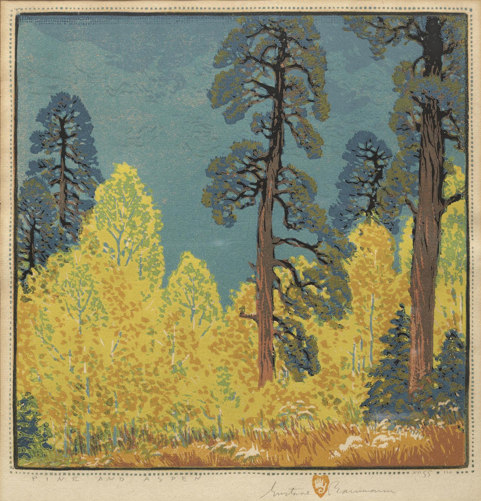 Gustave Baumann-Pine and Aspen (A. 88)-1920