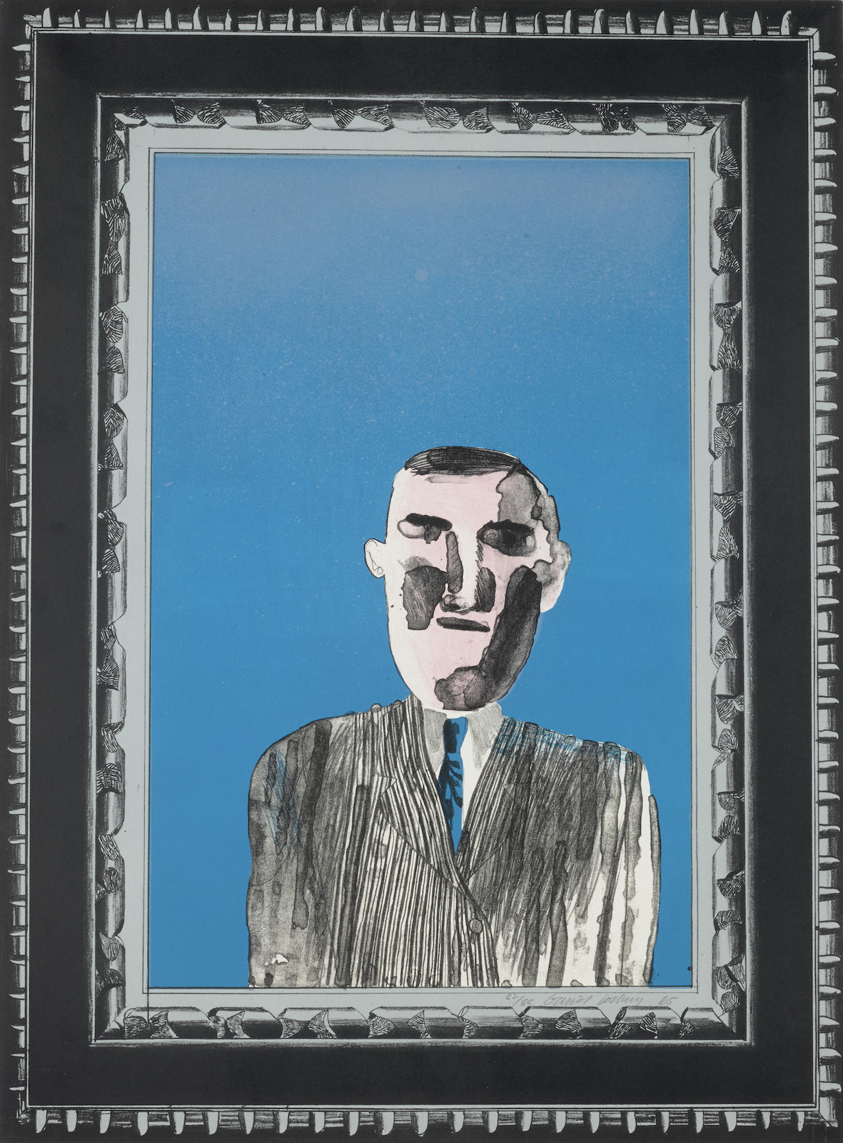 David Hockney-Picture of a portrait in a silver frame, from A Hollywood Collection (S.A.C. 43)-1965
