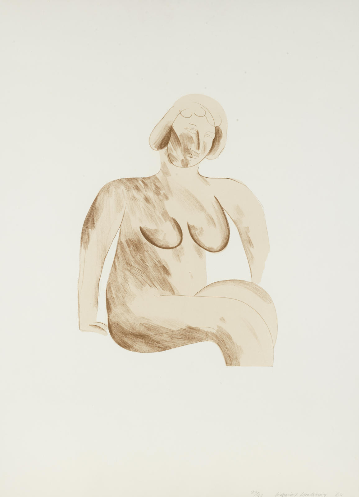 David Hockney-Picture of a simple framed traditional nude drawing, pl. 5 from A Hollywood Collection (S.A.C. 45)-1965