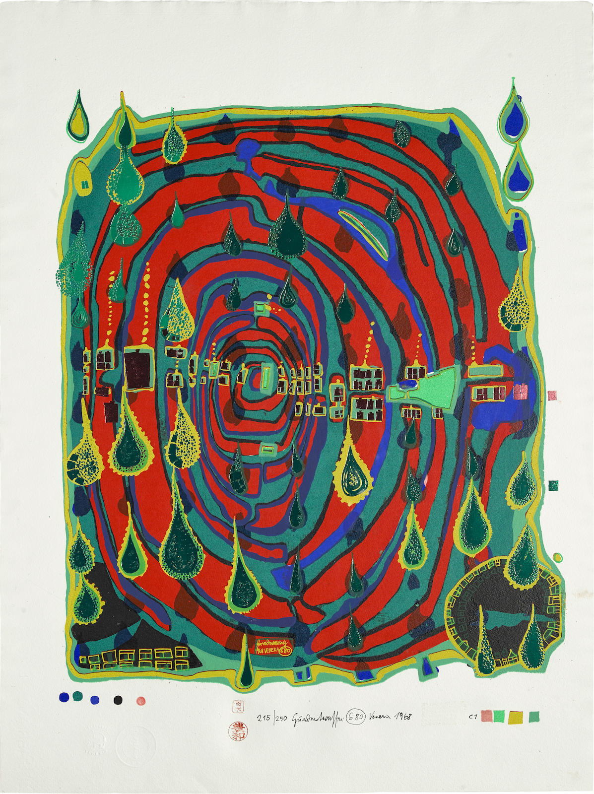 Friedensreich Hundertwasser-Sad not so sad in rainshine, from Rainday on a rainy day (K. 39a)-1968