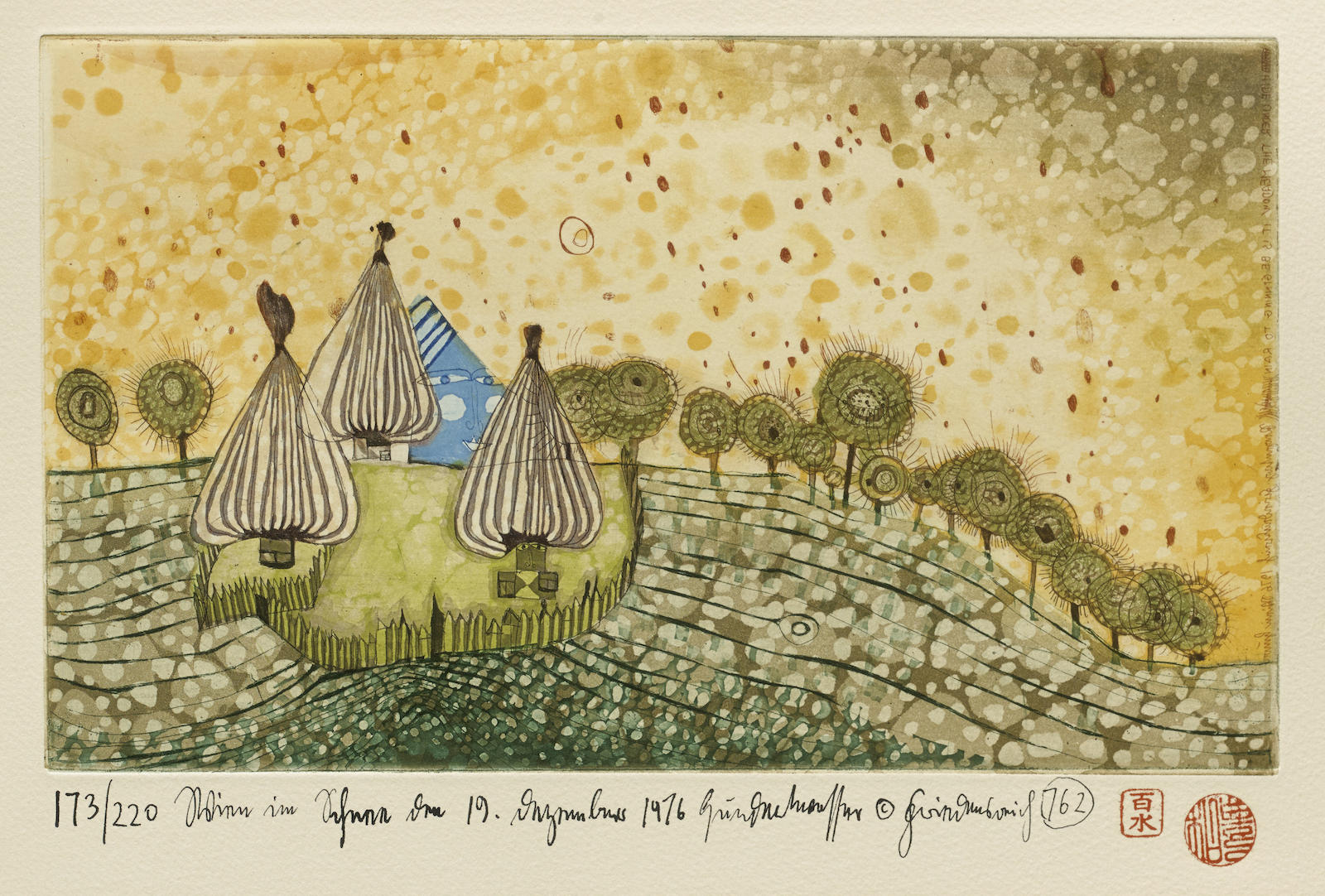 Friedensreich Hundertwasser-Hide Under the Meadow it Begins to Rain (K. 69)-1976
