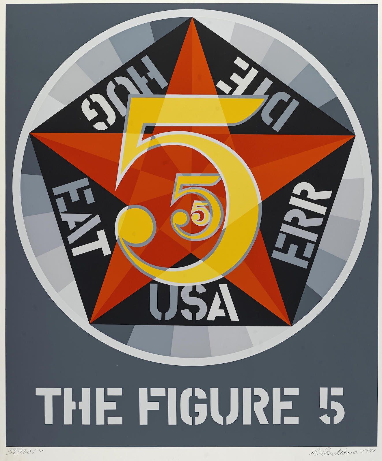 Robert Indiana-Eight Plates, from Decade Series (S. 63-67, 69, 70, 72). Titles include: American Dream (S. 63); Calumet (S. 64); Yield Brother (S. 65); Figure 5 (S. 66); Brooklyn Bridge (S. 67); USA 666 (S. 69); Parrot (S. 70); Terre Haute no. 2 (S. 72)-1971