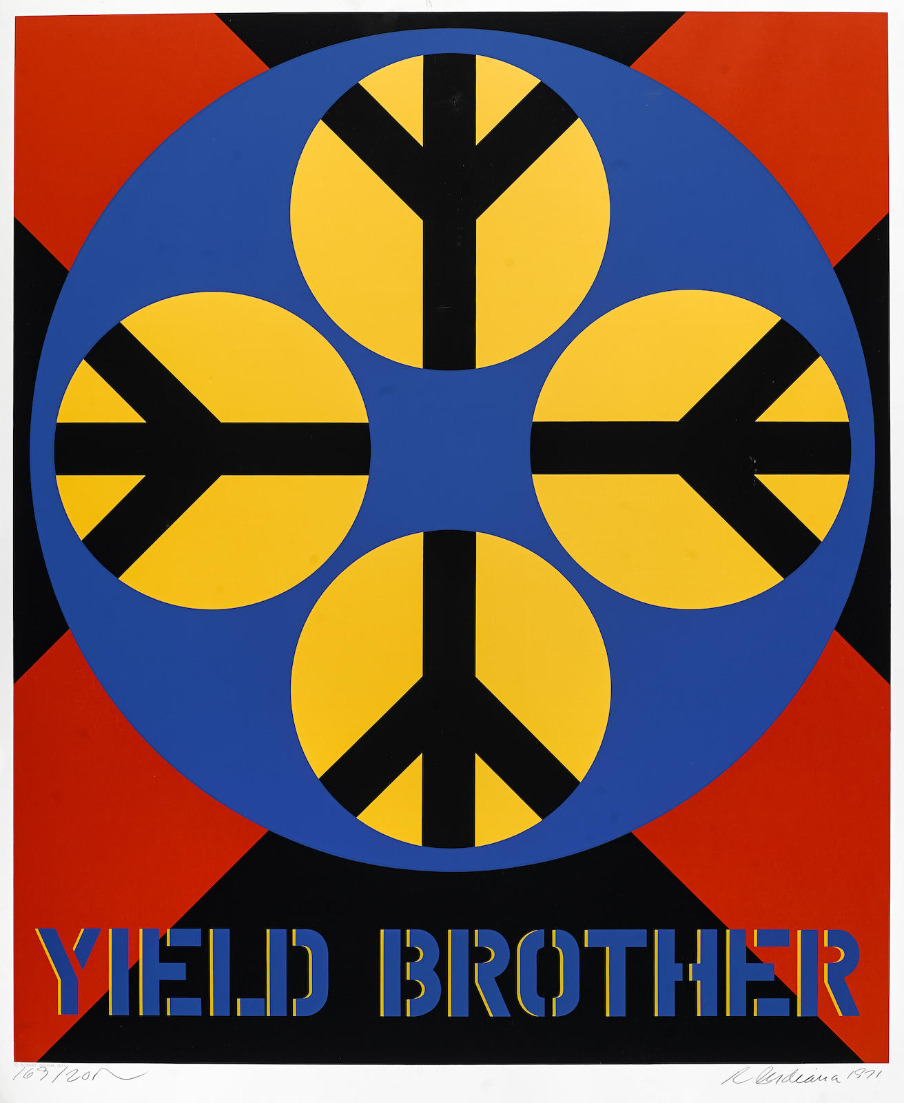 Robert Indiana-Three Plates, from Decade Series (S. 65, 67, 70). Titles include: Yield Brother (S. 65); Brooklyn Bridge (S. 67); Parrot (S. 70)-1971