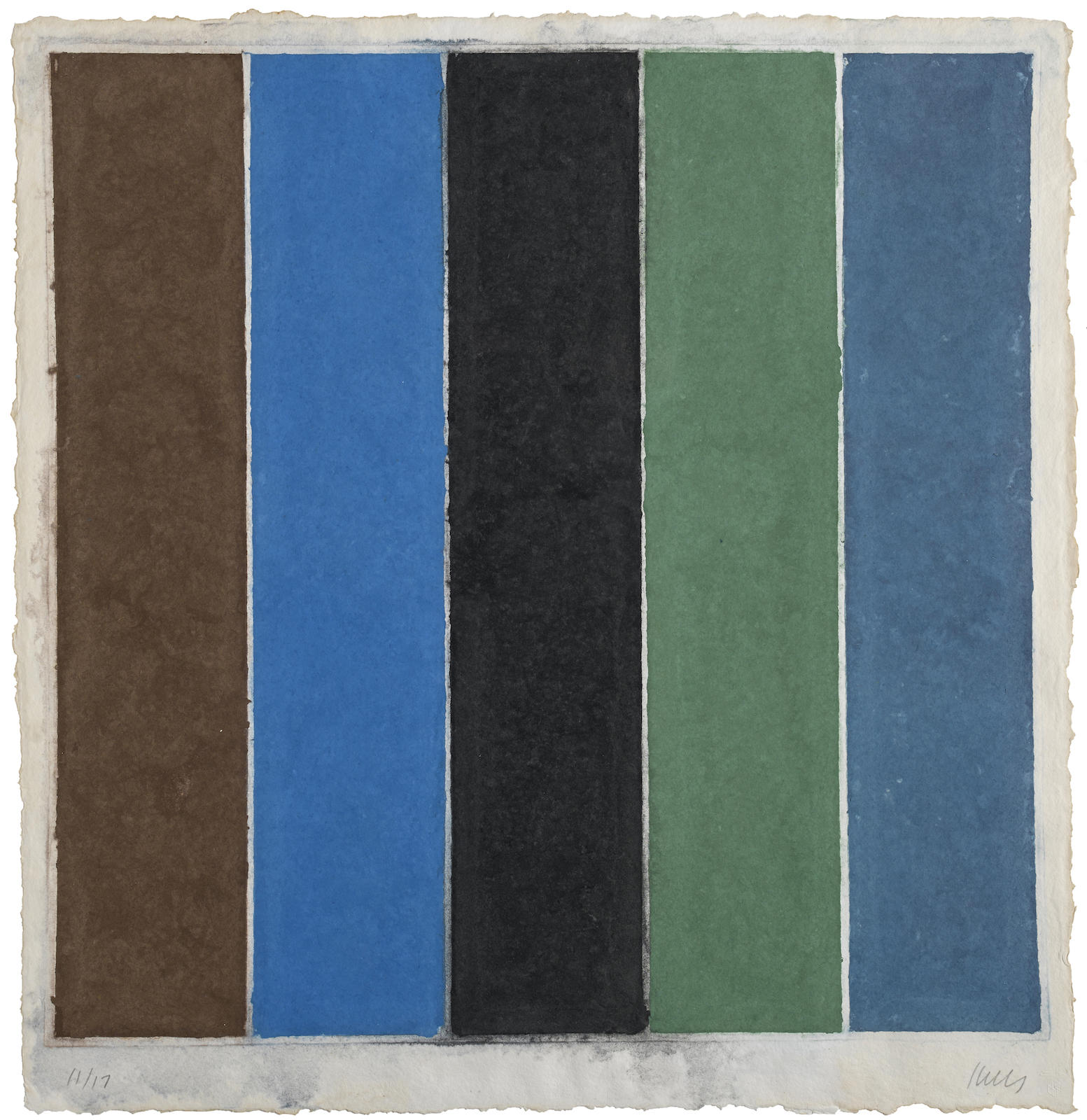 Ellsworth Kelly-Colored Paper Image XIX (Brown/Blue/Black/Green/Violet)-1976