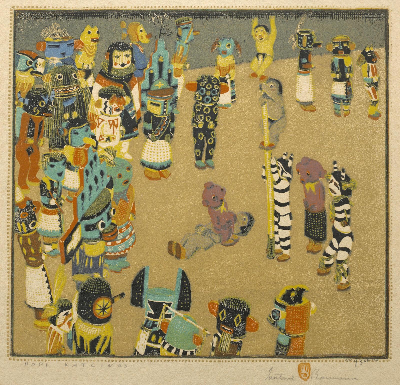 Gustave Baumann-Hopi Katzinas (A. 103)-1925