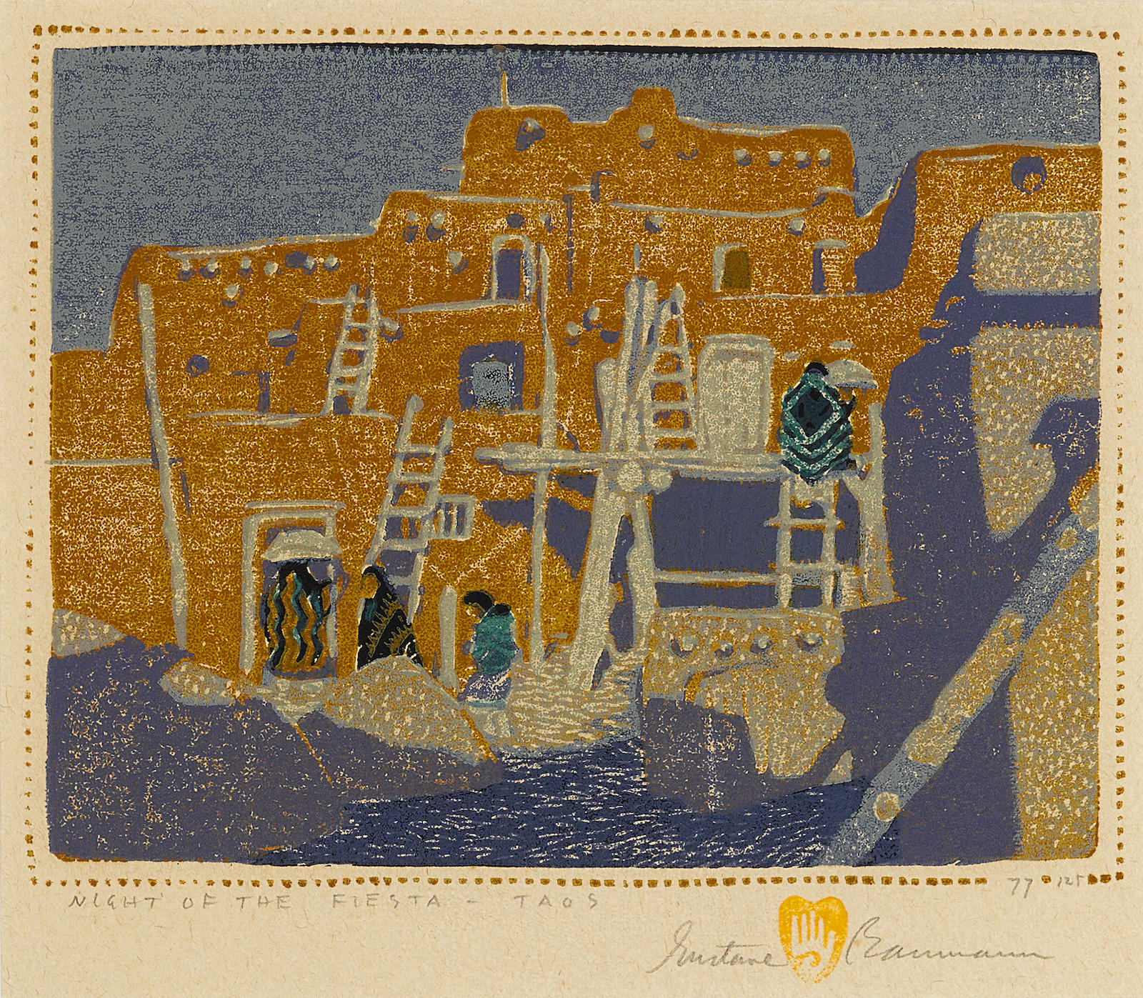 Gustave Baumann-Night of the Fiesta - Taos (not in Acton)-1926