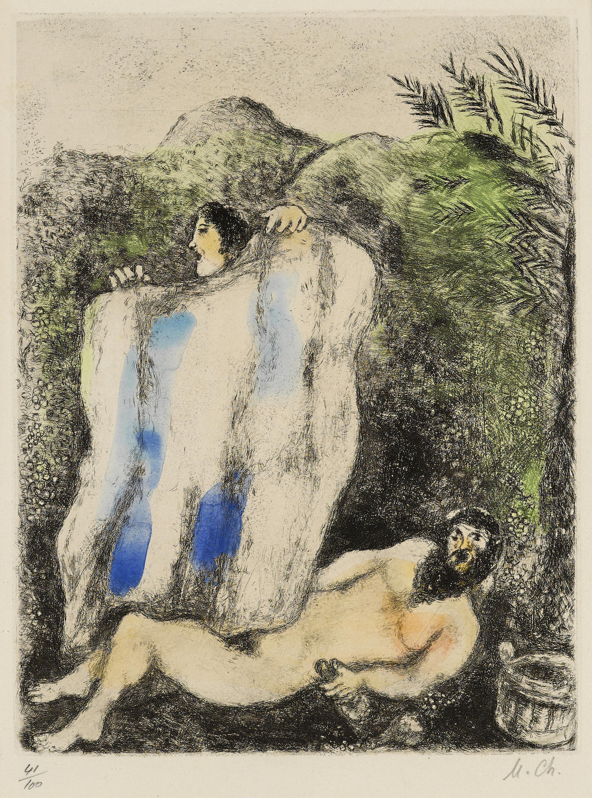 Marc Chagall-Le manteau de Noé, pl. 5, from La Bible (V. 203; C. bk. 30)-1939