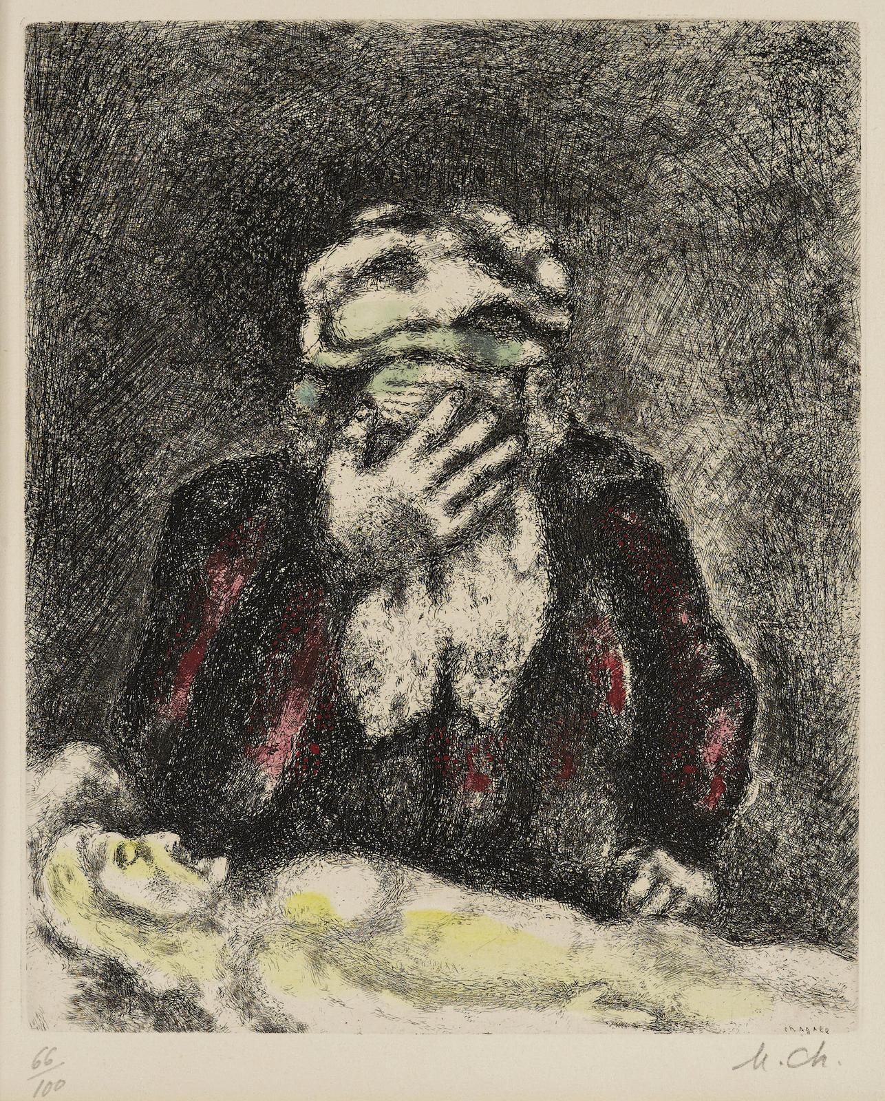 Marc Chagall-Abraham pleurant Sara, pl. 12, from La Bible (V. 210; C. bk. 30)-1939